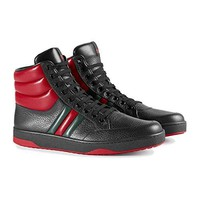 Gucci Men's Contrast Padded Textured Leather High Top Sneaker, Black 368494