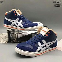Arthur asics high-top plus wool men and women fashion casual shoes F-A36H-MY Blue + white line