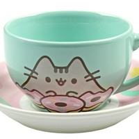 Pusheen Donut Teacup & Saucer Set (Coffe Cup And Plate Set)