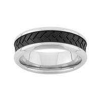 Two Tone Stainless Steel Tire Tread Wedding Band - Men (Grey)