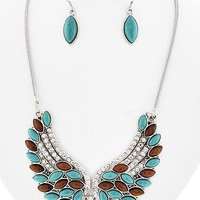 Angel Wing Necklace & Fish Hook Earring Set