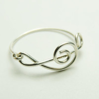 Treble Clef Ring - Music Note Sterling silver wire ring handmade