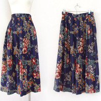 """Vintage Navy Blue Floral Print Full Pleated Midi Skirt - Colorful High Waisted Long Women's Skirt - Size 6 26"""" Waist Small"""