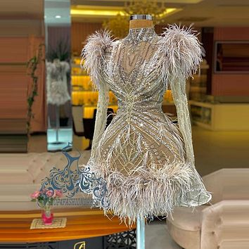 High Quality Luxury Beading Feather Short Cocktail Dresses High Neck See Thru Crystals Homecoming Dress With Long Flare Sleeves