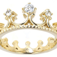 .18ctw Round Glacier Topaz(Tm) 18k Yellow Gold Over Sterling Silver Crown Band Ring