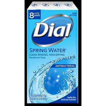Dial Antibacterial Deodorant Bar Soap, Spring Water, 4 OZ, 8 Bars