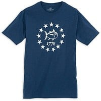 Declaration Tee Shirt in Heathered Navy by Southern Tide