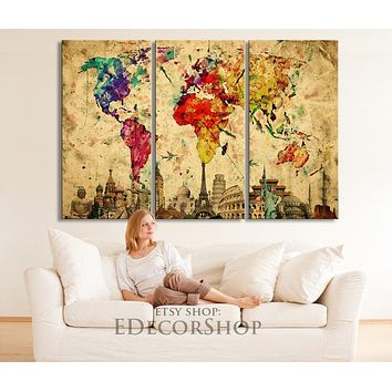 Wonders of the World Colorful WORLD MAP Canvas Print on Old Paper Large Size World Map Canvas