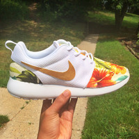 Tropical Print Custom Nike Roshe Run Sneakers with Gold Swoosh