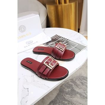 2021 Versace Women NEW ARRIVALS Leather High heeled Casual Flat SandalS Slippers Shoes