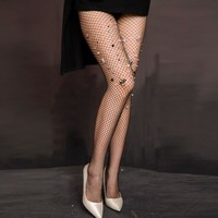 Bumblebee Stars and Stones Embellished Fishnet Tights