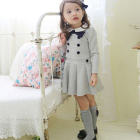 Toddlers Baby Girls Pleated School Dress Long Sleeve Buttons Bow Costume 1-6Y