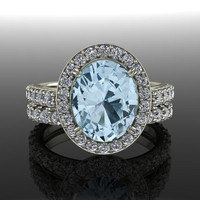 Halo Engagement Ring and Band Blue Topaz and Diamonds 3.25 CTW