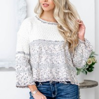 Cream Silver Tinsel Crop Sweater