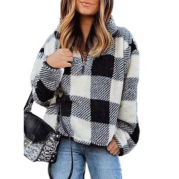 Dokotoo Womens Winter Cozy Loose Casual Long Sleeve Oversized Soft Sherpa Fuzzy Fluffy Fleece Half 1/4 Zip Collar Plaid Checkered Sweatshirt Pullover Sweater Outerwear Black Medium