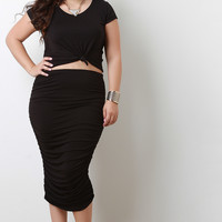 Plus Size Double Ruched Knit Midi Skirt