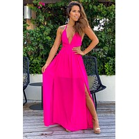 Hot Pink Maxi Dress with Cut Outs and Side Slit