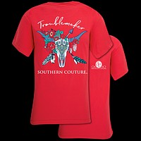 Southern Couture Troublemaker Skull Comfort Colors T-Shirt