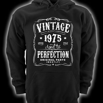 40th Birthday Gift For Men and Women - Vintage 1975 Aged To Perfection Mostly Original Parts Hoodie Hooded Sweatshirt Gift idea  N-1975