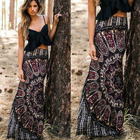 Skirts BOHO Hippy Women Long Maxi Slim Skirt Beach Clothing Casual Summer Sexy Women  Summer Floral Vintage Plus Size to XXL