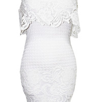 Off Shoulder with Mini Dress with Embroidered Lace Shell