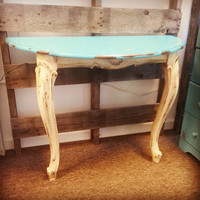 Vintage Entry Table, French Provincial Style, Shabby Chic Painted Accent Table, Cottage, Distressed, Hand Painted, Chalk Painted, Half Table