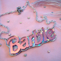 Confetti and Pink Acrylic BARBIE Necklace by imyourpresent on Etsy