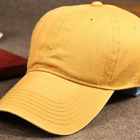 Yellow Vintage Washed Cotton Baseball Cap