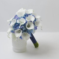 white cala lily and blue Hydrangea Wedding Bouquet Accessories Prom Party Decoration Wedding Bouquet Flower Brides Wedding