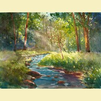 watercolor landscape painting PRINT creek and tree summer trees k