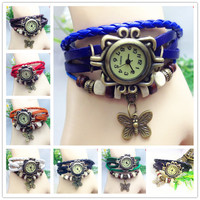 Free DHL New arrivals genuine leather hand knit vintage watches bracelet wristwatches butterfly pendant free shipping cow leather