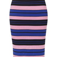 Hyper Colour Stripe Skirt - Cobalt