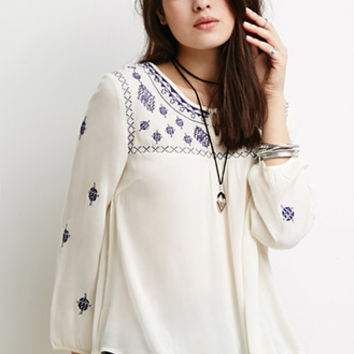 Southwestern-Embroidered Peasant Top