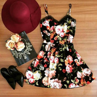Lace Patchwork Floral Print Strappy Mini Dress in Black