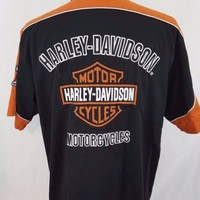 Harley Davidson Embroidered Button Up Garage Shop 1903 Motorcycle Shirt Size XL