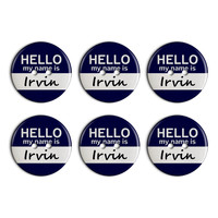 Irvin Hello My Name Is Plastic Resin Button Set of 6