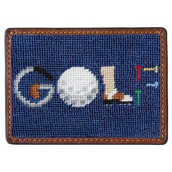 GOLF Needlepoint Credit Card Wallet in Navy by Smathers & Branson