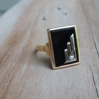 Art Deco Onyx and Diamond 10k yellow gold ring rectangle unique