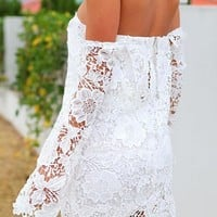 Dear-Lover Women's Lace Off-shoulder Mini Dress