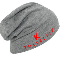 """Kollectiv """"K"""" Acrylic Knit Slouch Beanie 12"""" (H.Gry/Red)"""