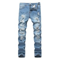 Lguc.H Men's Biker Jeans Ripped Denim Slim Pant 2018 New Men Classic Rap Hip Hop Skinny Casual Stretch Jeans Men Blue Trousers