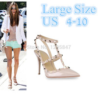 Hot Women Pumps Ladies Sexy Pointed Toe High Heels Fashion Buckle Studded Stiletto High Heel Sandals Shoes Large Size