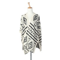Black and White Geometric Print Loose Long Style Open Cardigan Sweater