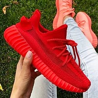 Hipgirls Adidas Yeezy Boost 350 V2 Women Men Sports Sneakers Fashion running shoes Red
