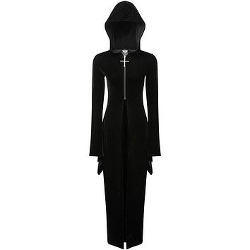 Gothic Style Velvet Fabric Flare Sleeve Figure Flattering Halloween Hooded Maxi Dress