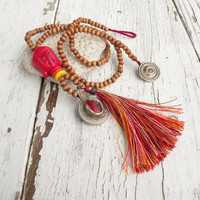 Buddha Mala Inspired Tassel Necklace, Wood Beads with Red Accents