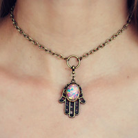 hamsa pink opal choker, opal choker, hamsa necklace, pink opal necklace, hippie necklace, 90s fashion