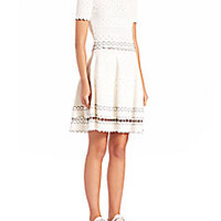 Alexander McQueen - Pointelle Knit Fit-And-Flare Dress - Saks Fifth Avenue Mobile