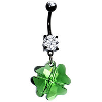 Clear Gem Green Faceted Four Leaf Clover Dangle Belly Ring | Body Candy Body Jewelry