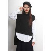 Fake 2-Layered Shirt Mix Knit Jumper
